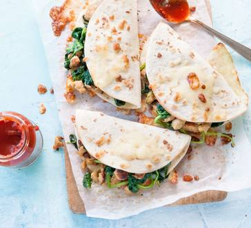 Sausage and Spinach Pizzadilla image