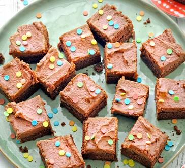 Chocolate Cake Squares with Salted Caramel Frosting image