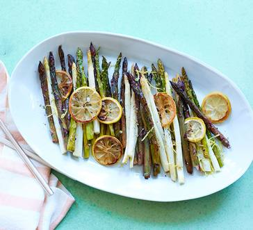 Roasted White, Purple, and Green Asparagus image