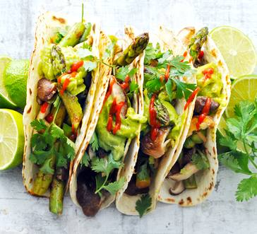 Grilled Shiitake and Asparagus Tacos image