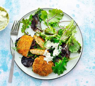 Pan-seared Salmon Cakes over Greens image