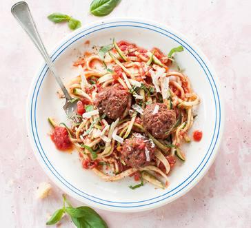 Zucchini Spaghetti and Meatballs image