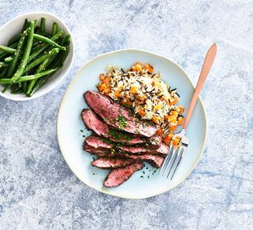 Steak with Wild Rice and Green Beans image