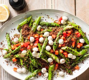 Grilled Asparagus Quinoa Salad with Basil Vinaigrette image