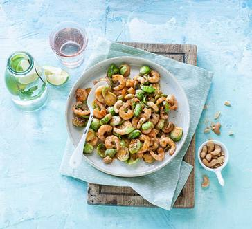 Teriyaki Shrimp, Brussels Sprouts, and Cashew Stir-Fry image