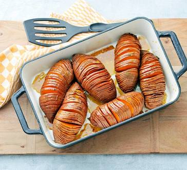 Hasselback Sweet Potatoes with Bourbon-Maple Butter image