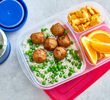Chicken Meatballs with Rice and Peas image