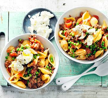Pasta Bolognese with Peas and Ricotta image