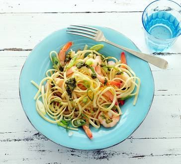Pesto and Pasta with Lemon and Shrimp image