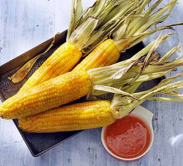 Fire-Roasted Corn with Hot Honey Butter image