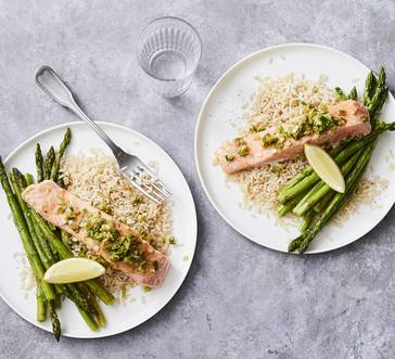 Gingery Salmon with Roasted Asparagus image