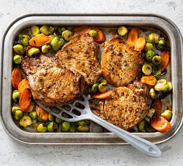 Roasted Pork Chop and Veggies Sheet Pan Dinner image