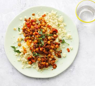 Spiced Chickpeas and Beef over Couscous image