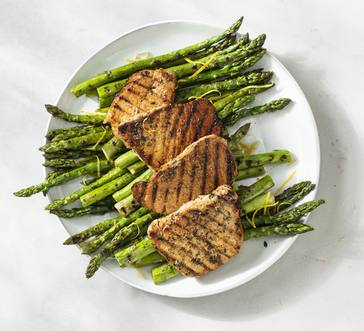 Grilled Pork Chops with Grilled Asparagus image