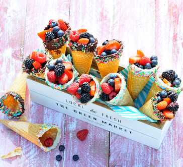 Chocolate-Dipped Fruit Cones image