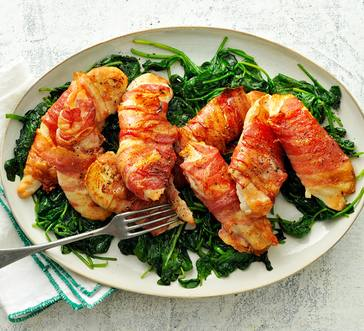 Bacon-Wrapped Chicken with Spinach image