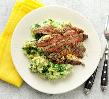 Grilled Steak with Mashed Potatoes and Greens image