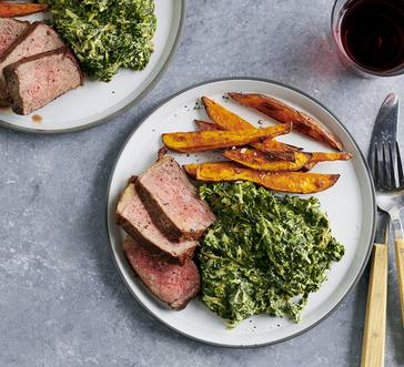 Sweet Potatoes and Creamed Spinach with Steak image