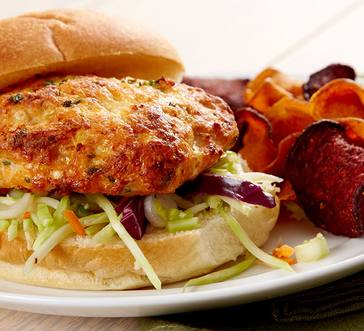 Salmon Burgers with Gingery Slaw image