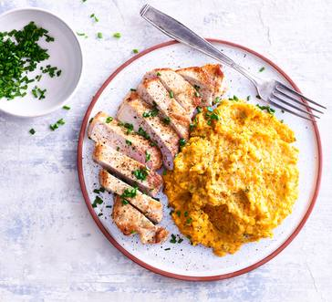 Boneless Pork Chops with Herbed Sweet Potato Mash image