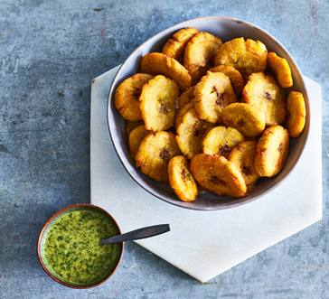 Twice-Fried Plantains with Green Herb Sauce image