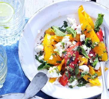 Grilled Peppers with Feta and Mint image