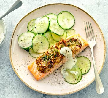 Salmon with Horseradish Yogurt Sauce image