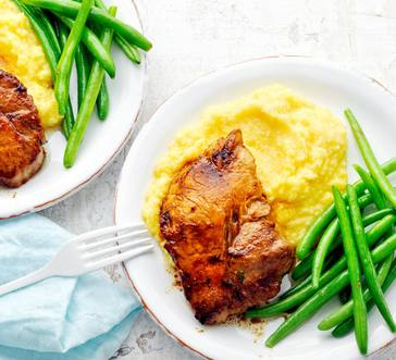 Miso-Maple Pork Chops with Green Beans and Polenta image