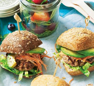 Sliders with Carrot Slaw and Avocado image