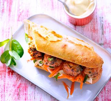 Grilled Turkey Meatball Hoagies with Sriracha Mayo image