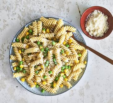 Fusilli with Corn and Peas image
