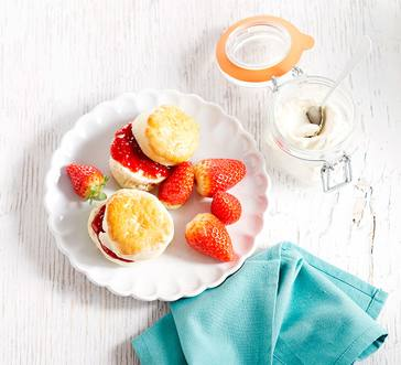Scones with Strawberries and Cream image