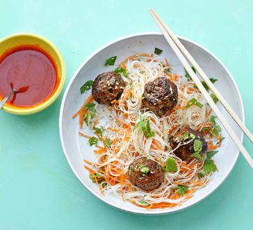 Vietnamese-Style Meatballs with Rice Noodles image
