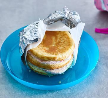 Strawberry Cream Cheese Pancake Stacks image