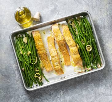 Sheet Pan Salmon and French Beans image
