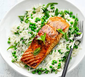Honey-Glazed Salmon with Herbed Rice image