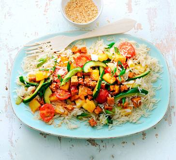 Thai Stir-Fry with Tofu, Pineapple, and Cucumber image