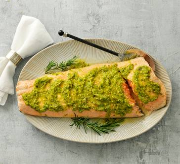 Oven-Poached Salmon with Pistachios and Horseradish image