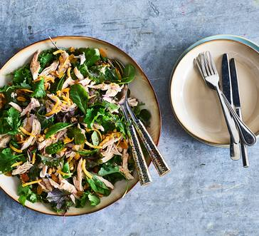 Salad with Chicken, Walnuts, and Golden Raisins image