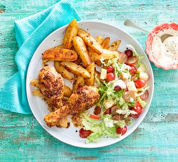 Spicy Drumsticks with Oven Fries and Salad image