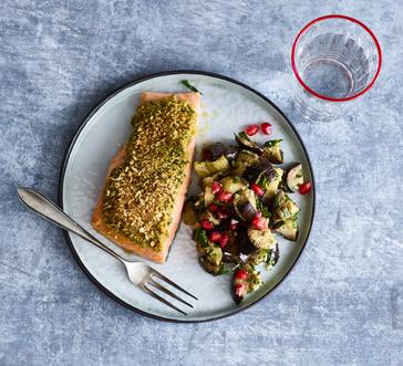 Tapenade and Bread Crumb–Crusted Salmon with Marinated Eggplant image