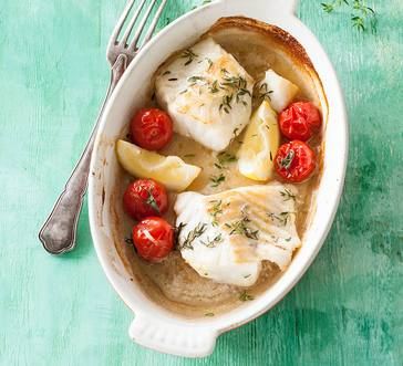 Pan-Roasted Cod with Blistered Tomatoes, Lemon, and Thyme image