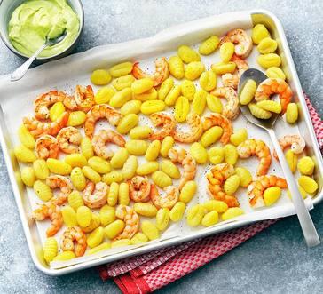 Sheet PanRoastedShrimp and Gnocchi with Avocado-Lime Sauce image