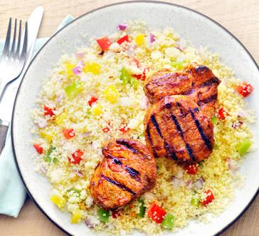 Spice-Rubbed Pork with Confetti Couscous image