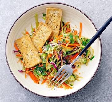 Air-Fried Crispy Tofu with Rainbow Slaw image