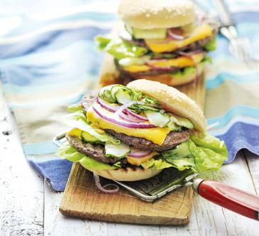 Double-Decker Cheeseburgers with Quick Pickles image