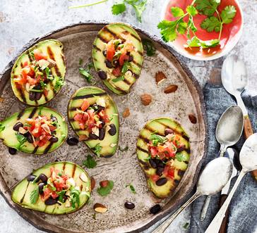 Grilled Avocados Stuffed with Black Beans and Tomato image