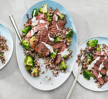 Steak with Broccoli-Grain Salad image