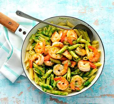 Shrimp and Penne Pasta with Spinach and Pesto image