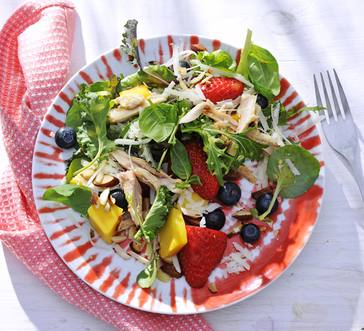 Salad with Chicken, Basil, and Berries image